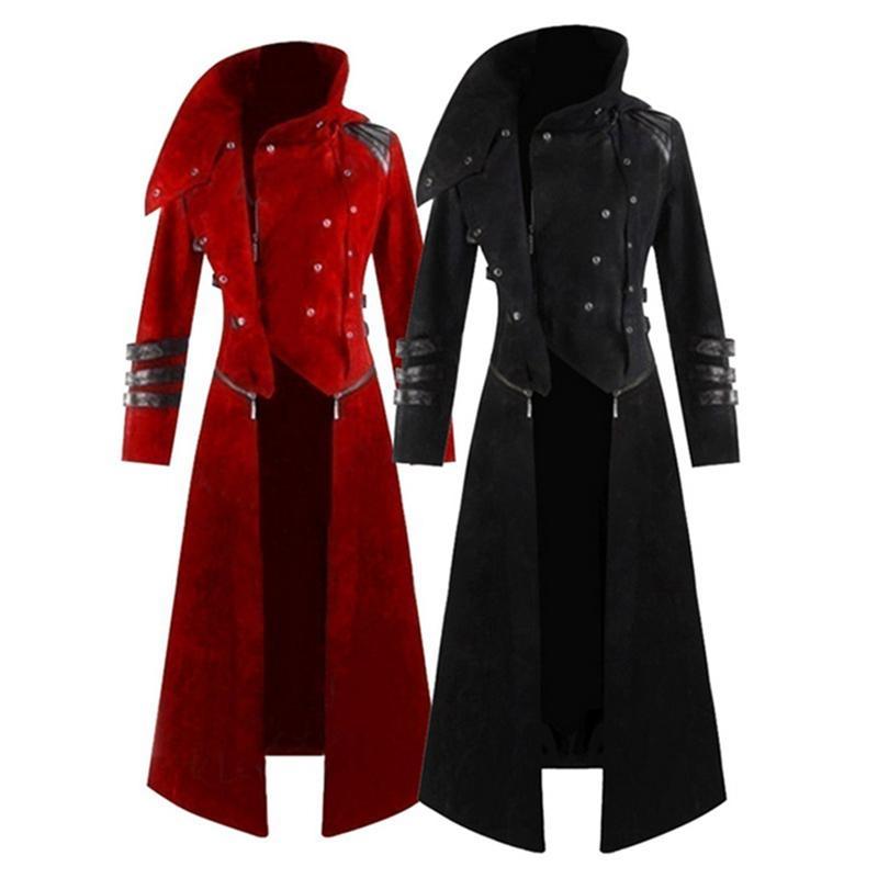 Mens Gothic Steampunk com capuz Trench partido do traje Tailcoat manga comprida Jacket Moda Mens Jackets Coats Chaqueta Hombre