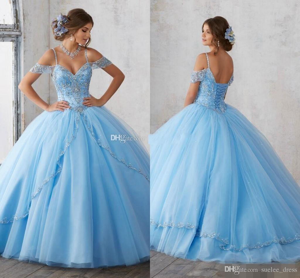 2019 più recente cielo blu Quinceanera abiti di lusso paillettes paillettes a file tulle al largo della spalla cinghie di spaghetti dolce 16 Pageant Ball Gown