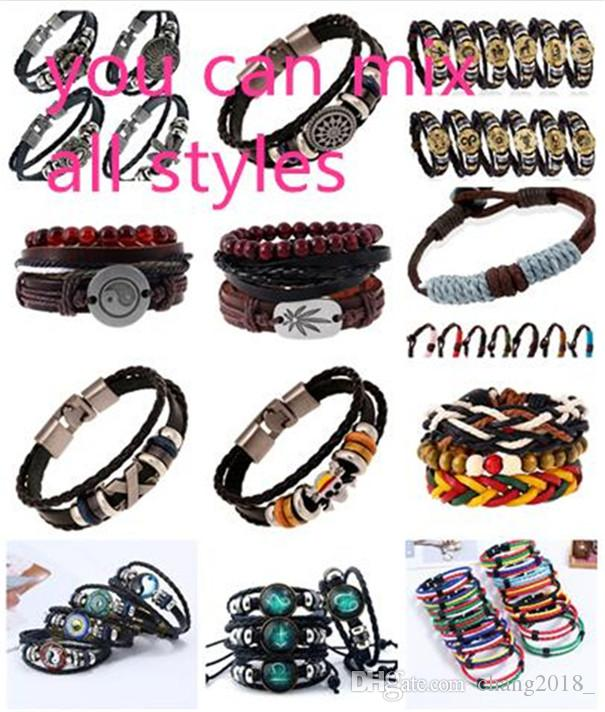 14 styles Multilayer Bracelet Men Casual Fashion Braided Leather Bracelets For Women Wood Bead Bracelet Punk Rock Men Jewelry pksp2-3