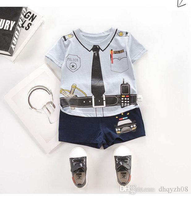Nouveaux vêtements pour enfants costume été nouveau garçon T-shirt à manches courtes + shorts motif police imprimer T-shirt design mode coton gris bleu