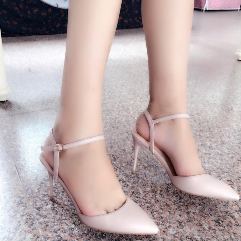 Lucky2019 Spring High-heeled Shoes Fine Princess Nude Color Sharp Single Shoe One Word Bring Buckle Woman Sandals