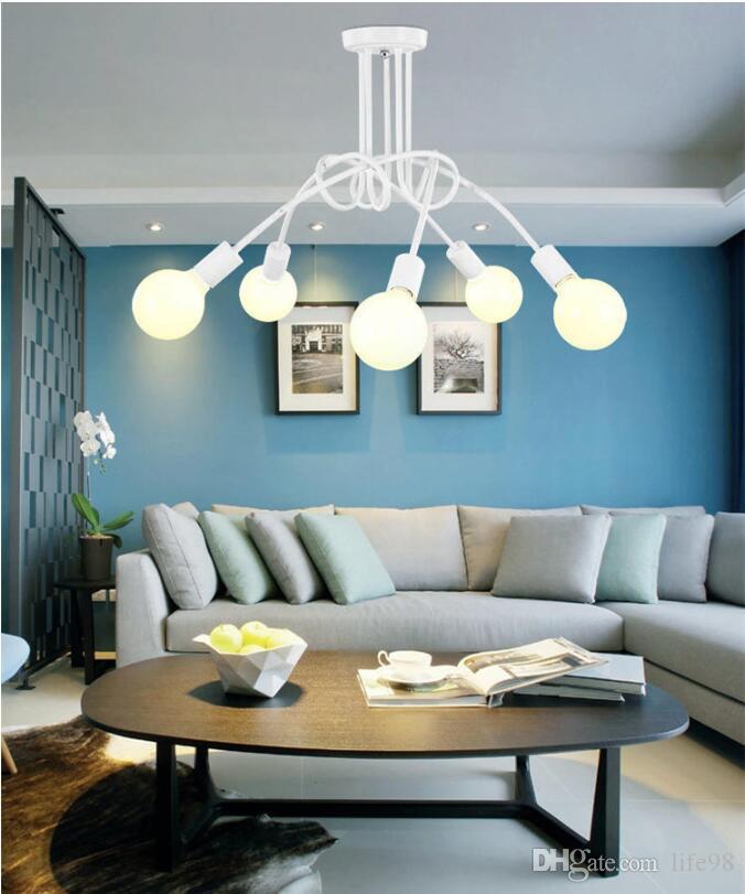 Nordic Loft люстра освещение, винтажный промышленный потолочный светильник, блеск, изгиб личности для домашнего магазина, E27, 3/5 головок