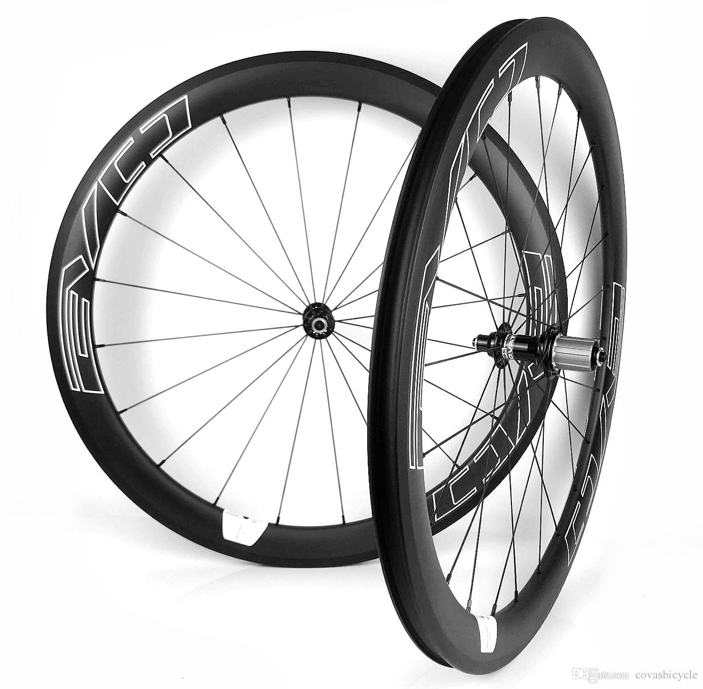 Les décalcomanies EVO blanc 700C route des roues de carbone de vélo profondeur de 50 mm 25 mm Largeur de pneu / route tubulaire carbone bicyclette essieu fini mat UD