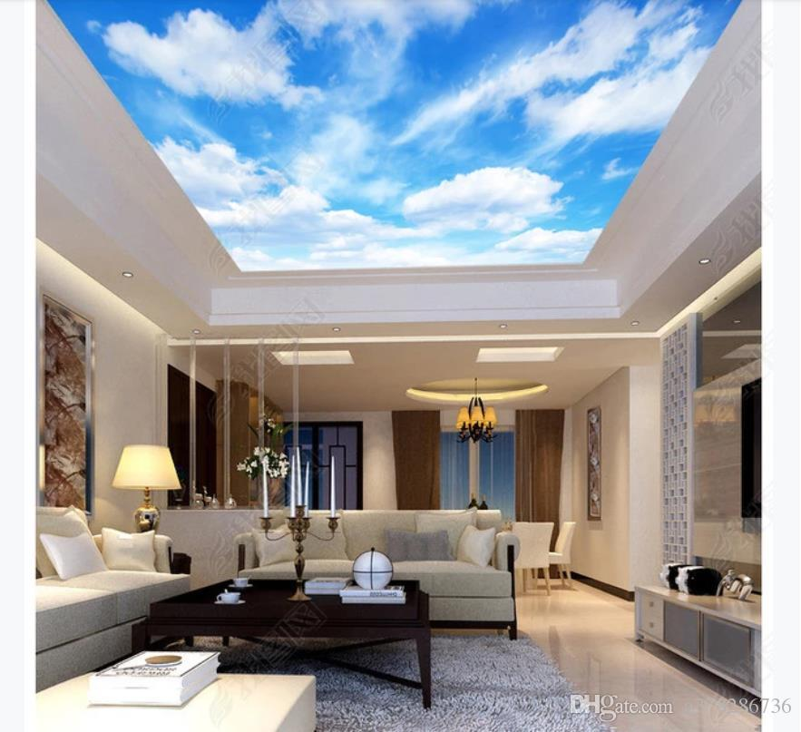 3D zenith mural custom photo ceiling wallpaper HD big picture blue sky and white clouds refreshing living room hotel 3D zenith ceiling mural