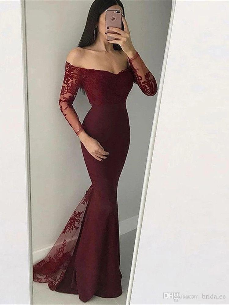 2020 Elegant Burgundy Mermaid Evening Dresses Long Sleeve Prom Gown Lace Applqiues Off Shoulder Formal Prom Evening Gowns