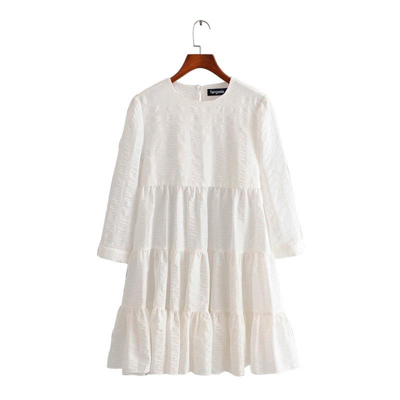 Tangada лето женщины мода твердые белое 3D платье o-образным вырезом с длинным рукавом дамы случайные свободные миди платье Vestidos 3H240