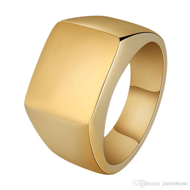 الأزياء والمجوهرات رجل عصابة الهيب هوب مجوهرات الفولاذ المقاوم للصدأ مثلج خارج الذهب الفاخرة الرجال خاتم الزواج يا الدائري