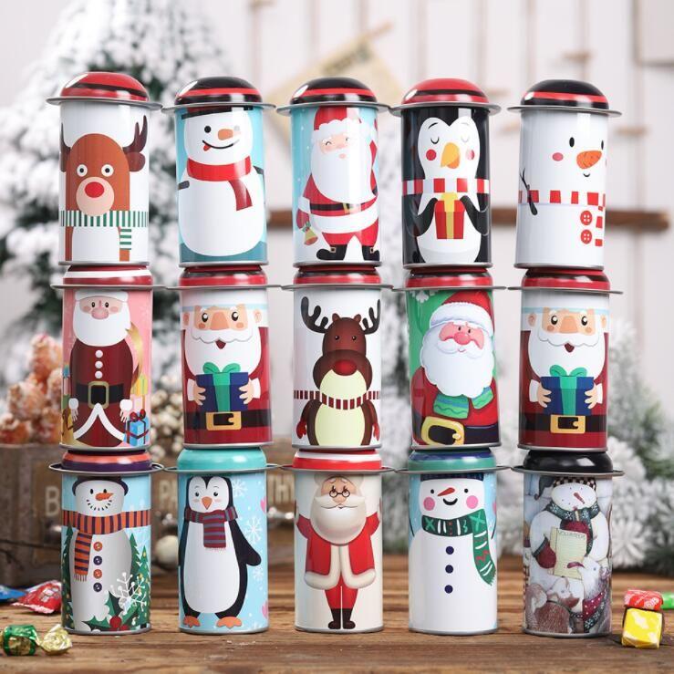 Sucrerie de Noël Tin Box Noël Enfants cadeaux Boîtes de bonbons Boîte Party Père Noël bonhomme de neige Sweets Boîte de fer Jar Favor 14 Styles LXL522
