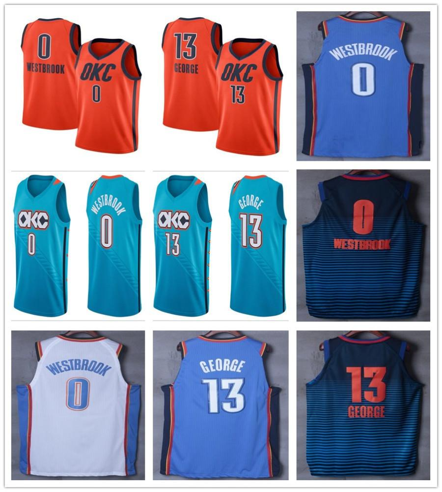 best loved 0843e 56801 2019 2019 New Earned City Edition 0 Russell Westbrook Jerseys Navy Blue  Orange White Green 13 Paul George Jersey Stitched Shirts Shorts From ...