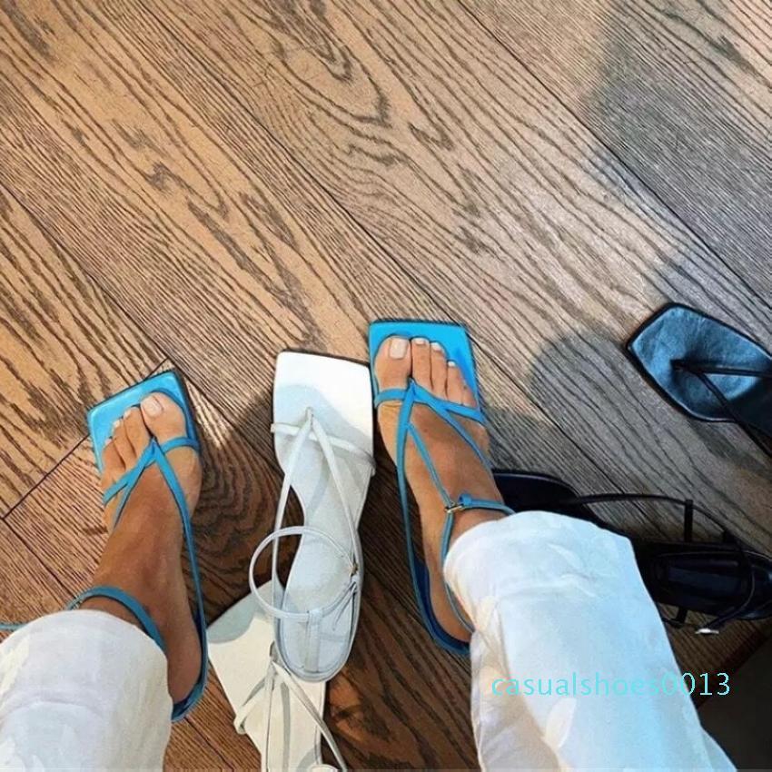 Yaz kadın sandalet dar bant Vintage Kare ayak yüksek topuklu toka Askı yüksek topuklu sandalet kadın V yaka tasarım Ayakkabı kadın c13