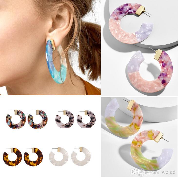Acrylic acetate semi-circular Stud earrings leopard resin earrings C-shaped earrings jewelry