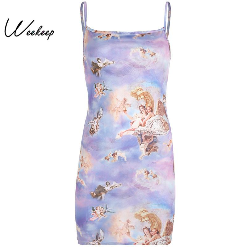 wholesale Women Print Spaghetti Strap Dress 2019 Summer Sexy Backless Mini Dresses Bodycon High Street Robe Femme vestidos