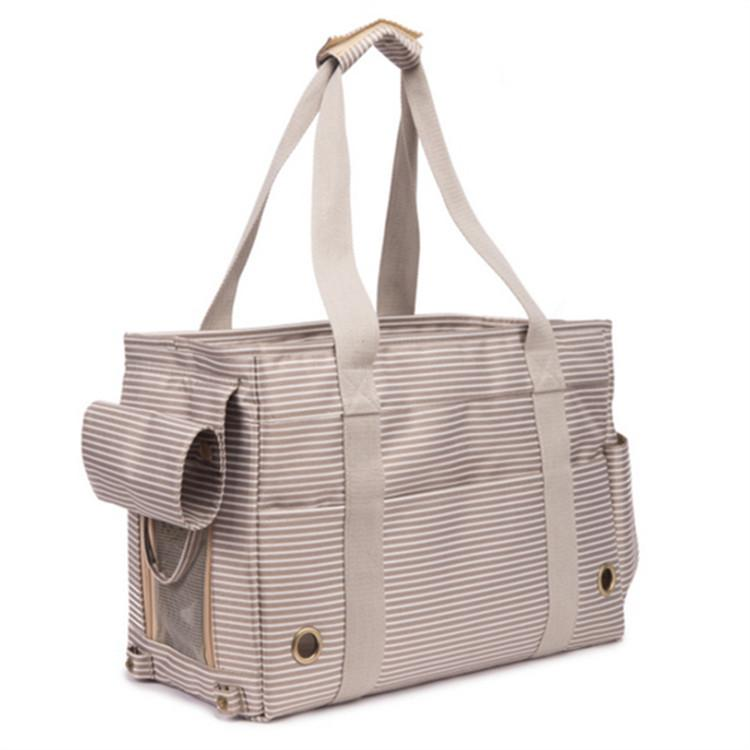 الحجم: 40 * 18 * 26 cm ماء نايلون شريطية نمط صافي كلب حمل حقيبة قدرة كبيرة محمولة المشي في الهواء الطلق حمل مقبض حقائب
