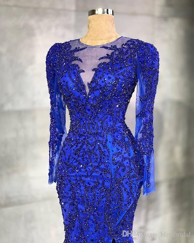 2020 아랍어 아소 에비 로얄 블루 이브닝 드레스 고급스러운 페르시 크리스탈 긴 소매 깎아 지른 넥 인어 넥타이 넥타이 플러스 공식 댄스 파티 가운
