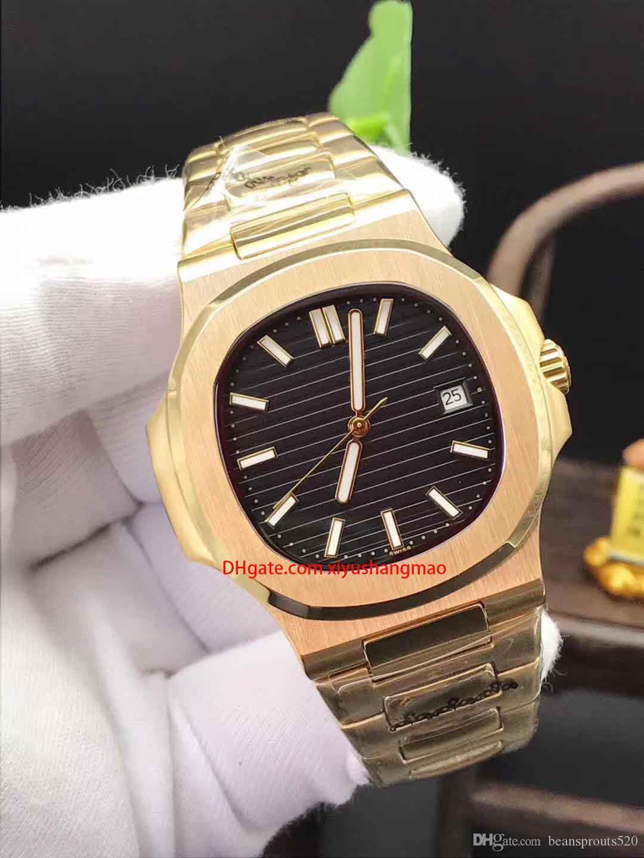 Luxus-Uhr der Männer, Nautilus 5711 Serie, Gehäuse aus Edelstahl, Faltschliesse, 2813 Automatikwerk Uhr. Sport, golden rostfreiem