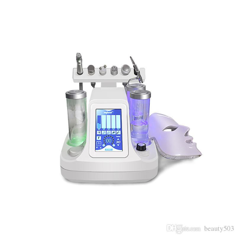 أفضل بيع فراغ الأوكسجين وجه آلة تنظيف الجمال المياه جت منظف مسام الوجه وجهاز تدليك الجلد أداة العناية اضافة 7Color LED قناع
