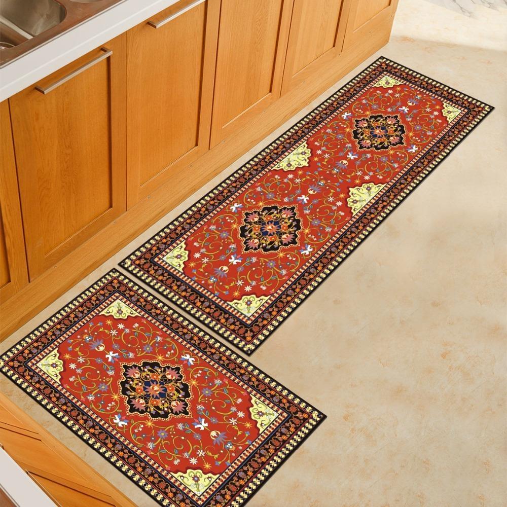 Waterproof Door Mat Non-Slip Restaurant Kitchen Protector Rug Carpet Brown S