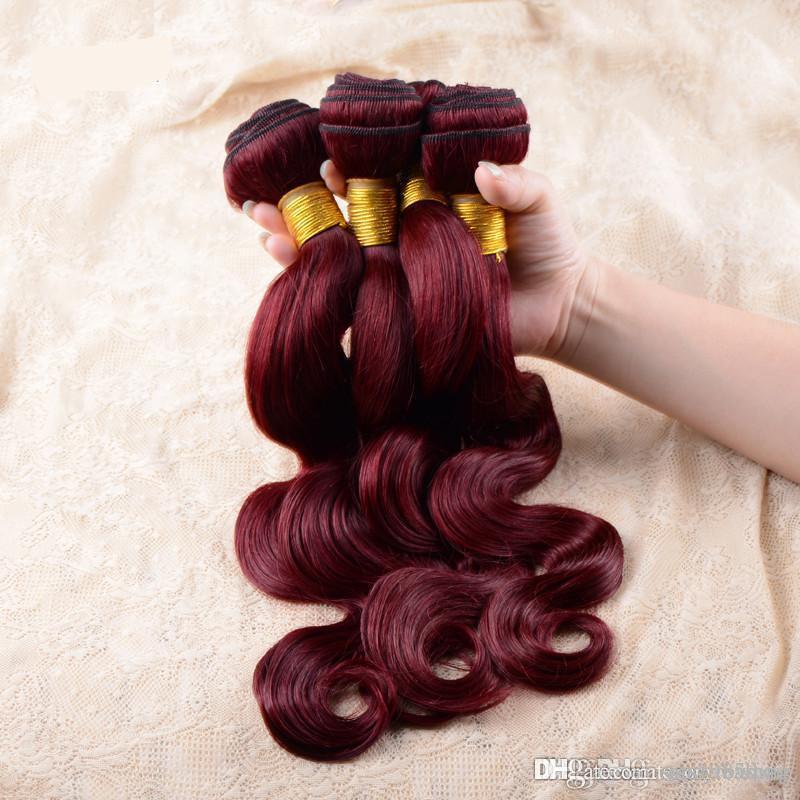 unprocessed grade 7A brazilian virgin hair red wine burgundy 99J color body wave human hair weaves 4pcs per lot free shipping