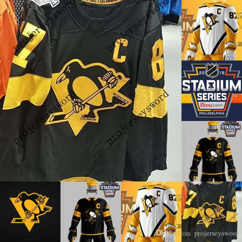 2019 Series Camisas do estádio 1 Casey DeSmith 30 Matt Murray 3 Olli Maatta 71 Evgeni Malkin 72 Patricia Hornqvist 87 Camisa de Hóquei Sidney Crosby