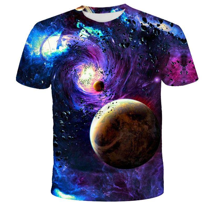 Galaxie T-Shirt T-Shirt Haifisch-Druck-Fischen-T-Shirt Männer Frauen Harajuku 3D-T-Shirt Anime-Tops