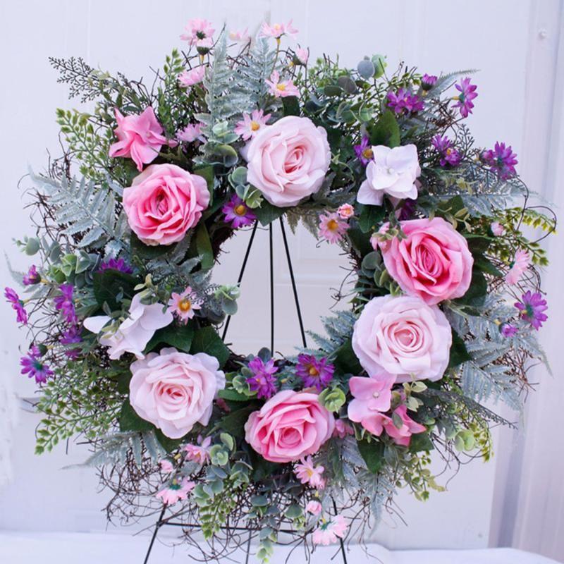 Weddinng Artificial Rose Flower Wreath Silk Simulation Spring Wreath For Front Door Wall Hanging Window Wedding Party Decor