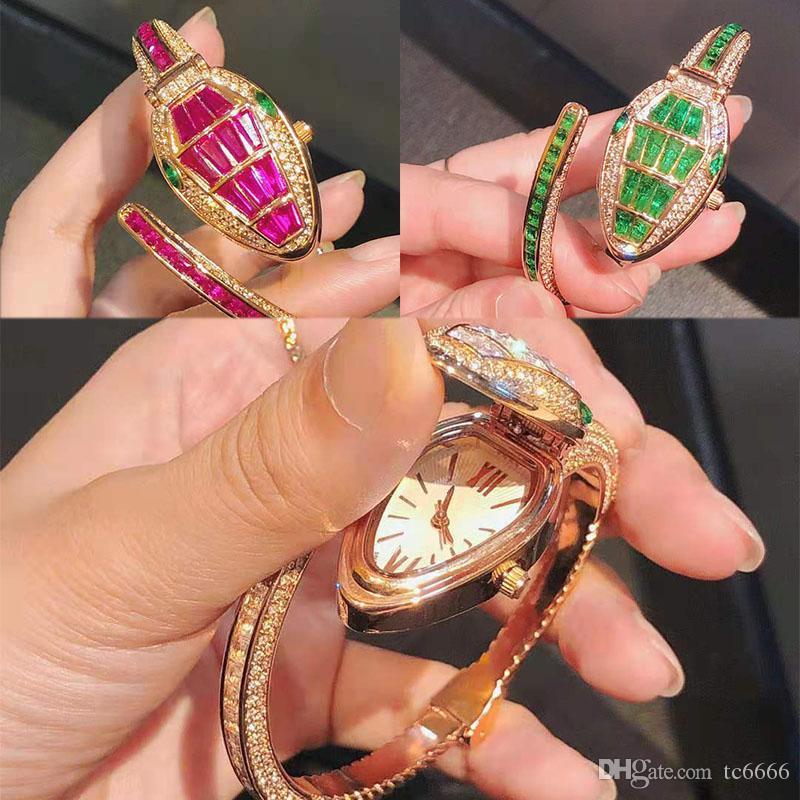 Новый стиль моды змеиные часы кварцевый механизм роскошные бриллиантовые часы со льдом женские часы из розового золота браслет женские наручные часы Montre Femme