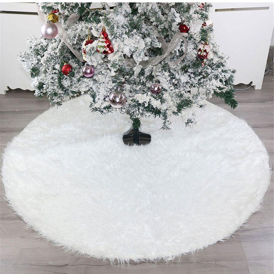 122 cm Weiß Plüsch Weihnachtsbaum Rock Teppich Große Snowy White-Pelz-Bodenmatte Weihnachtsschmuck neues Jahr-Verzierungen 48 Zoll JK1910