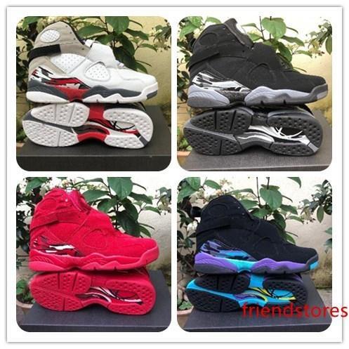 Avec 2019 8 de basket-ball rouge Saint-Valentin Chaussures Aqua Chrome COUNTDOWN PACK Mens Athletics Sneakers Size7-13 Livraison gratuite