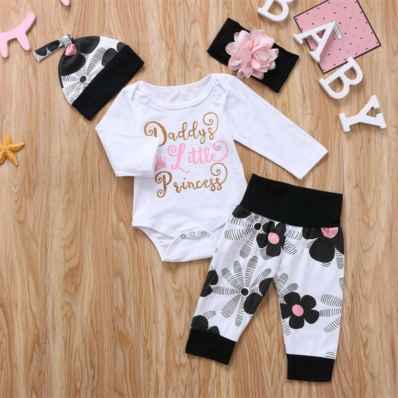 Baby Girls 4PCS Clothes Set Daddy/'s Princess Romper+Pants+Headband+Hat Outfits