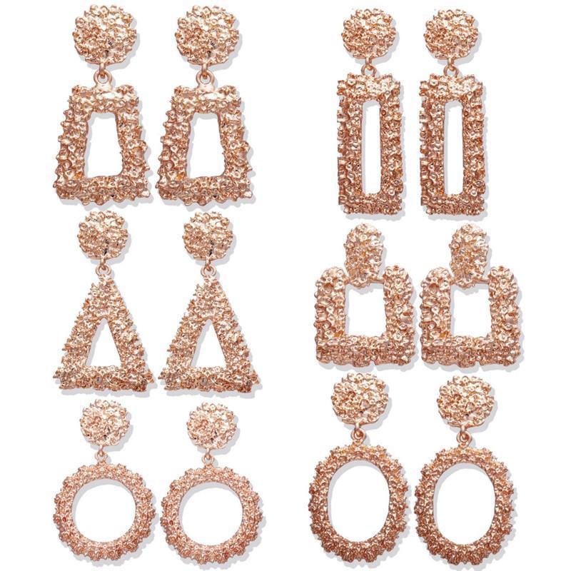 Moda de oro rosa / color oro geométrico gota pendientes para las mujeres Brincos irregular pendiente cuelgan plaza joyería HZ regalo de Navidad