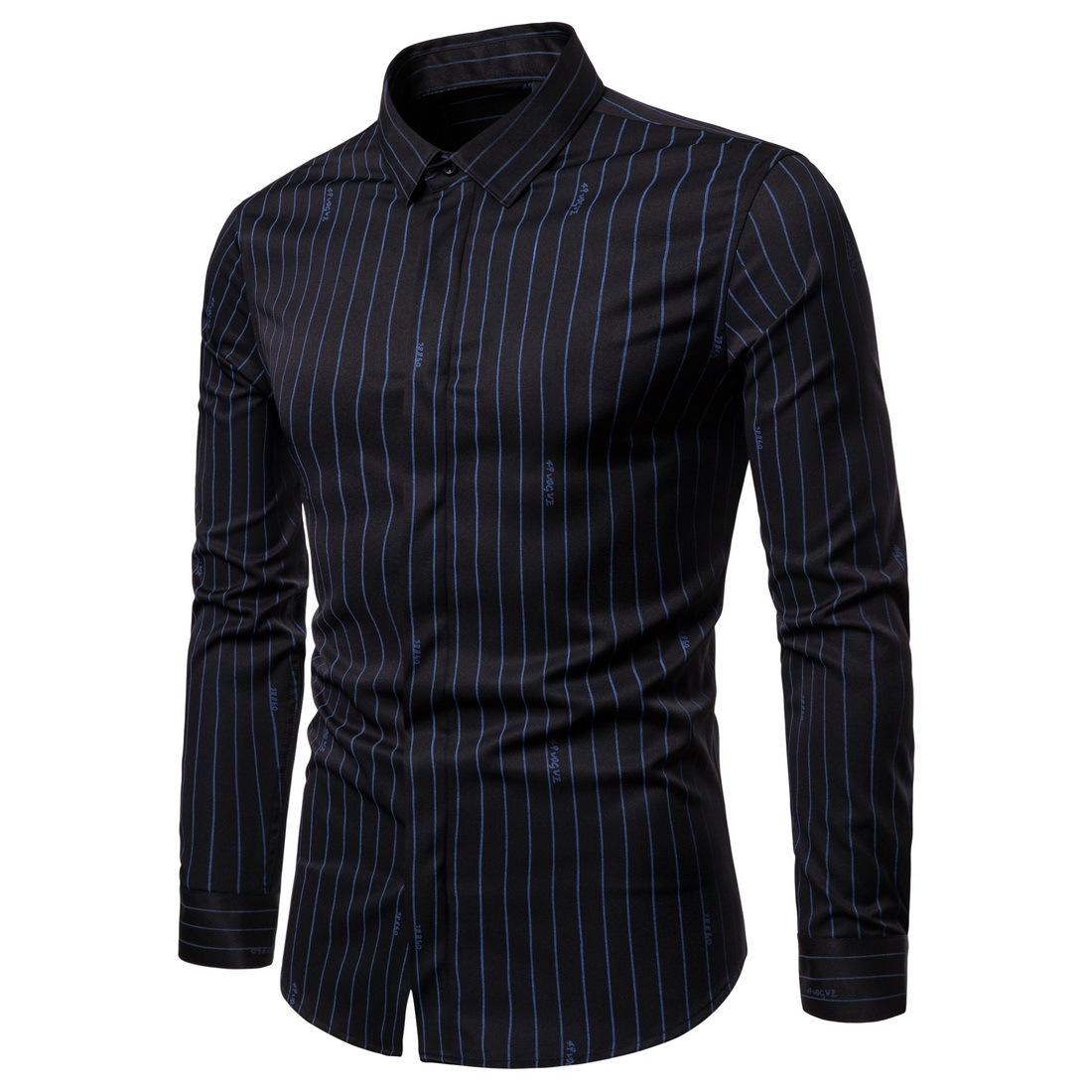 European Size New Men Shirt Long-sleeved Shirt Solid British Trend Striped Large Size Stretch Shirt Men 3 Color S-2XL Size Free Shipping
