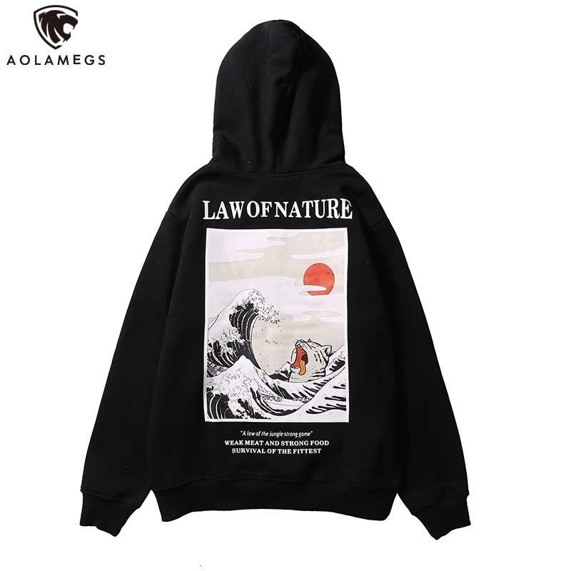 Aolamegs Hoodies Men Japanese Funny Cat Wave Hooded High Street Thick Pullover Sweatshirt Men Fleece Fashion Hip Hop Streetwear Y191111