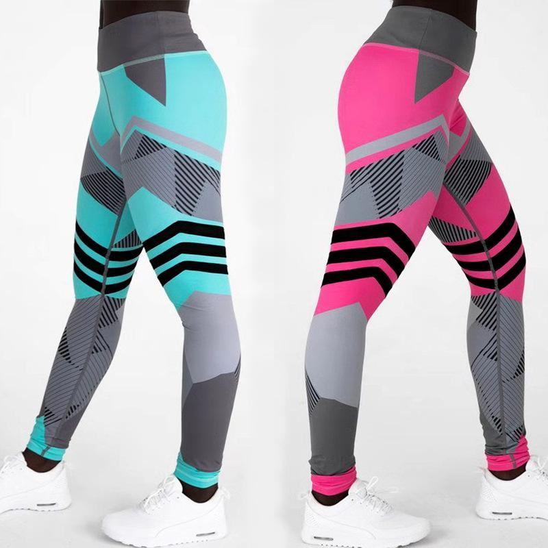 Digital Printing Pants Geometric Stitching Leggings Sports Trousers Ladies High Waist Hip Lifting Tight Fitting Multi Color Resilient 14 73h