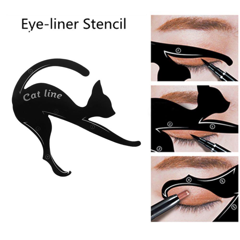 1 Set Cat Eyeliner Stencil Professional Makeup Eyebrow Stencil Models Eyes Liner Template Shaper Stamping Tool Plastic Templates