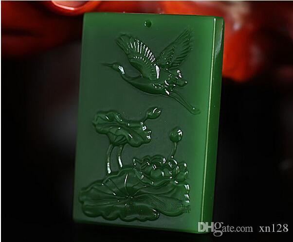 China handgeschnitzte natürliche grüne Exquisite Jade Kran Anhänger-Lotus