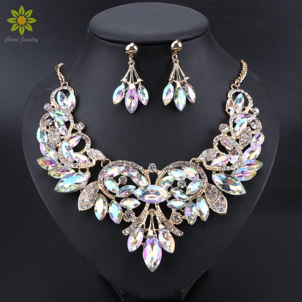 Indiani Gioielli da sposa set ridal i nuovi monili di lusso di modo delle donne del partito di nozze Bigiotteria regalo dell'orecchino della collana di cristallo Foglie ...