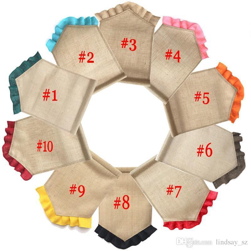 Boş Çuval Bezi Bayrak DIY Jüt Ruffles Bahçe Bayrakları Taşınabilir Boş Afiş Paskalya Bahçe Süslemeleri 10 Renkler