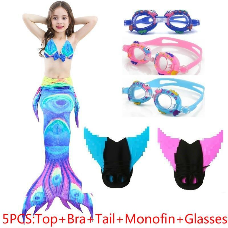 Little Mermaid Tails with Costume Cosplay Kids Girls Children Swimwear Swimming Swimsuit swimmable Bathing Suit Flipper