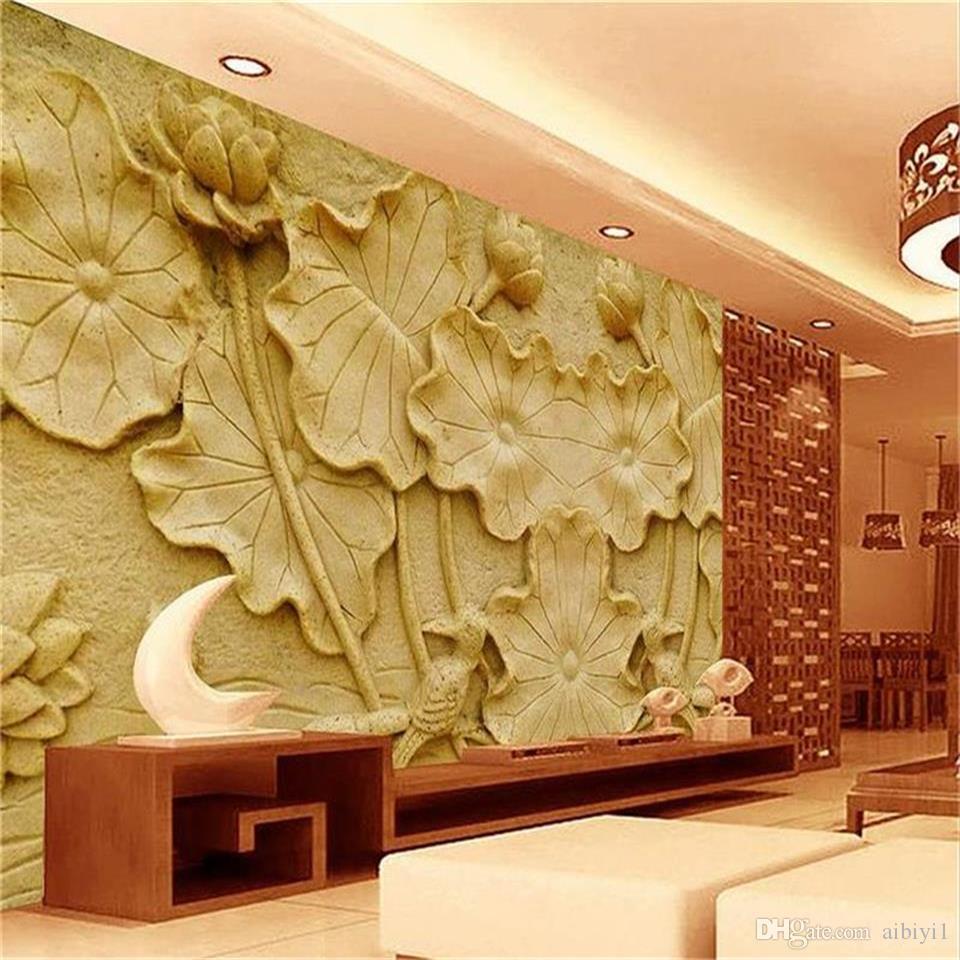 custom size 3d photo wallpaper livingroom mural Lotus Bird Yellow Embossment 3d picture sofa TV backdrop wallpaper non-woven wall sticker
