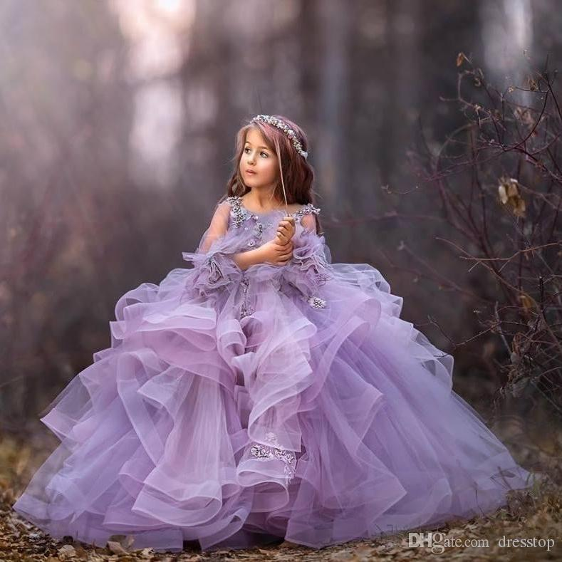 Light Purple Ball Gown Flower Girl Dresses with Tiered Ruffles Appliques Beaded Puffy First Communion Dress Girls Pageant Gowns