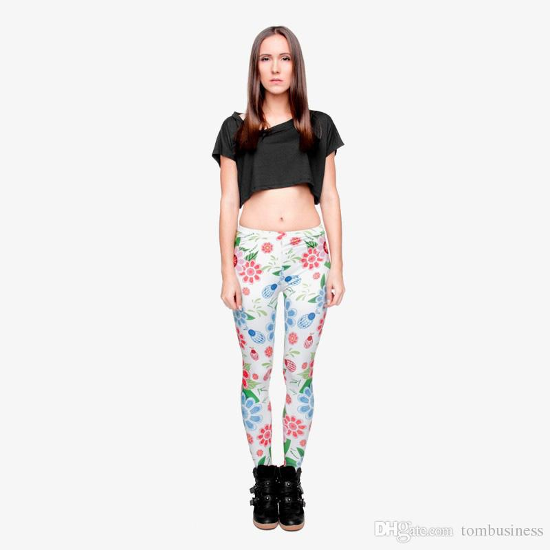 Women Leggings Ladybird Flower 3D Graphic Full Print Comfortable Yoga Pants Lady Fitness Casual Jeggings Girl Sports Pencil Pants (Y29525)