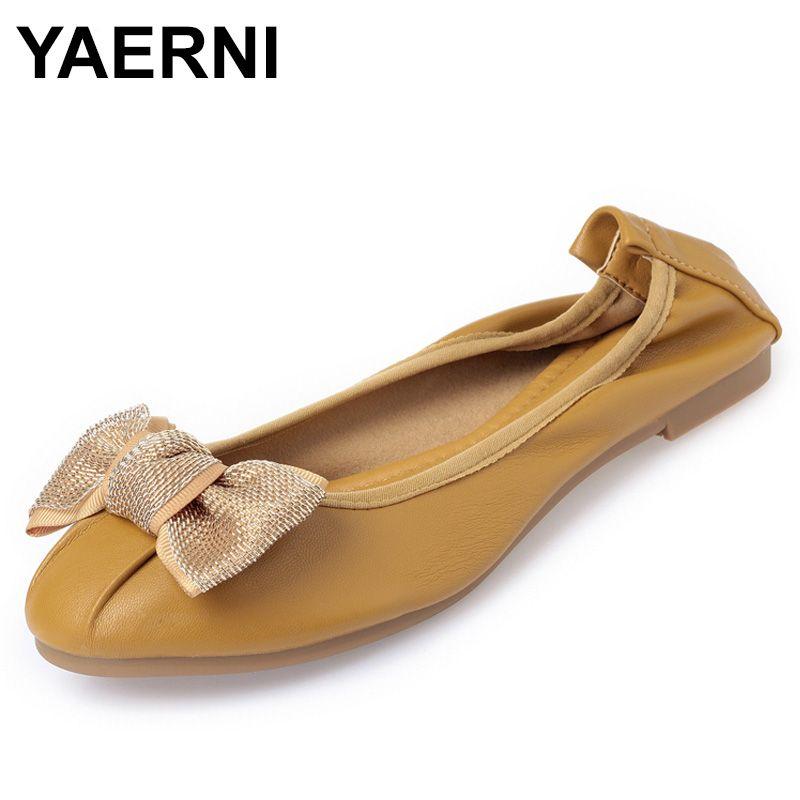YAERNI 새 여름 봄 소프트 플랫 여성 신발 라이트 웨이트 라운드 발가락 캐주얼 발레 플랫 OL Bowknot Comfort Office ShoesE1096