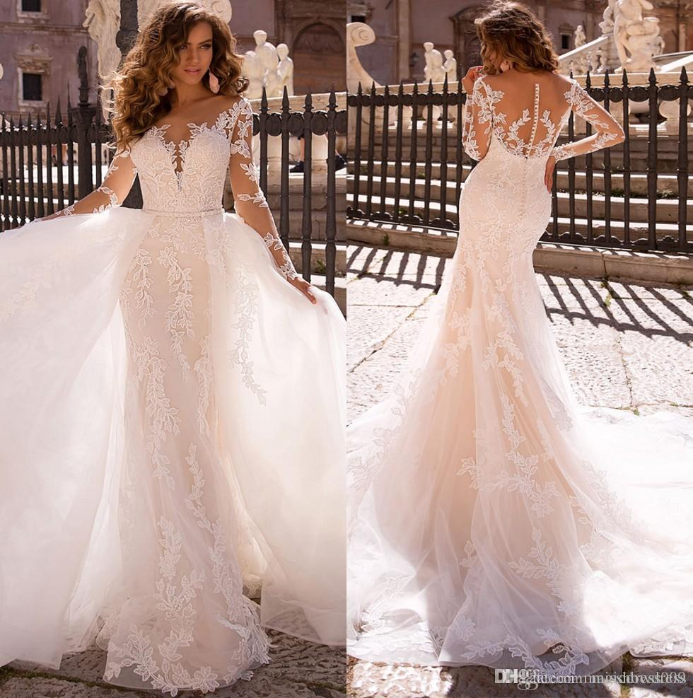Reizvolle weiße Spitze-Nixe-Brautkleider Neue bloße Ineinander greifen Top mit langen Ärmeln Applique Brautkleider mit abnehmbaren Rock Vestidos De Soiree