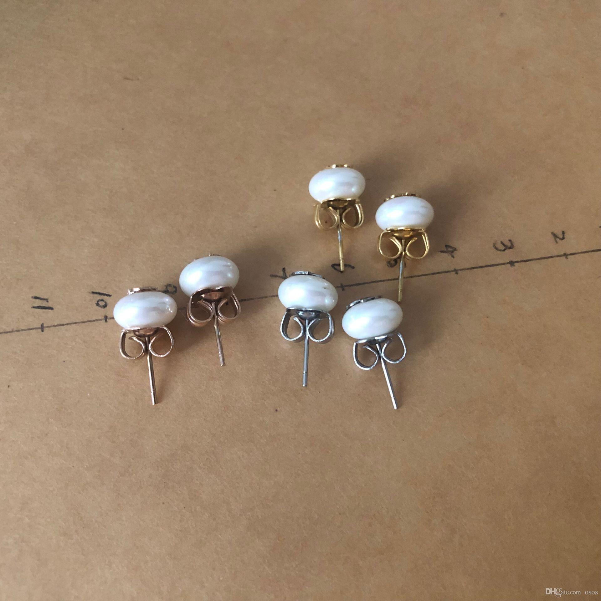 도매 패션 스테인레스 스틸 여성은 금 실버 쉘 진주 3 색 보석 파티 귀여운 곰 스타일의 선물 귀걸이 귀걸이 도금
