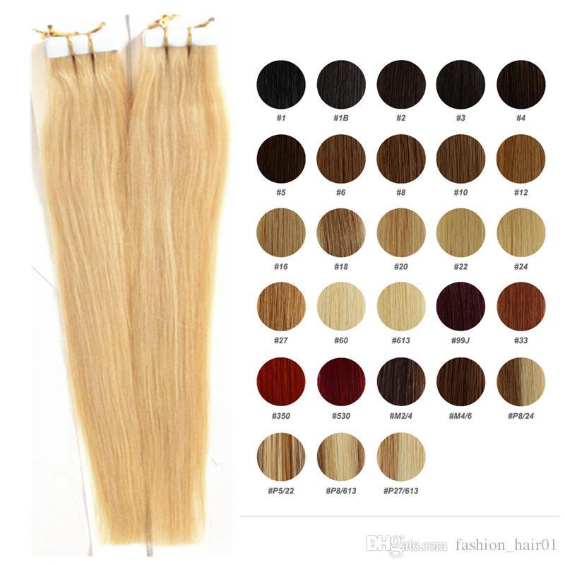 16 a 24 polegada de fita em extensões de cabelo cores de trama da pele loiro remy cabelo 20 pçs / sacos adesivo de dupla face cabelo humano frete grátis
