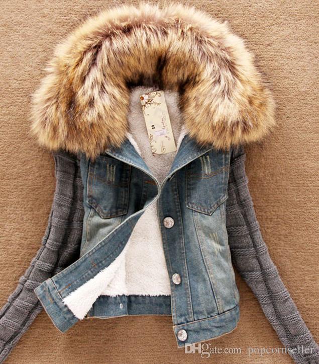 여성 패션 새로운 봄 데님 재킷 찢어진 구멍 큰 모직 칼라 캐주얼 재킷 모자 분리형 코트