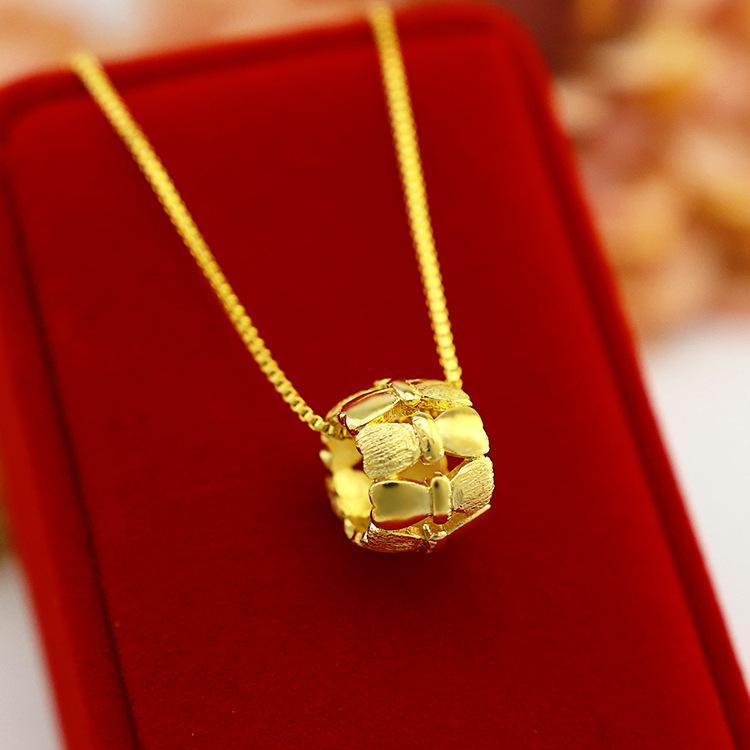 الأزياء والمجوهرات 14K الذهب الأصفر قلادة الفراشة القوس قلادة القلائد للمرأة الزفاف الاشتباك بيان قلادة المختنق