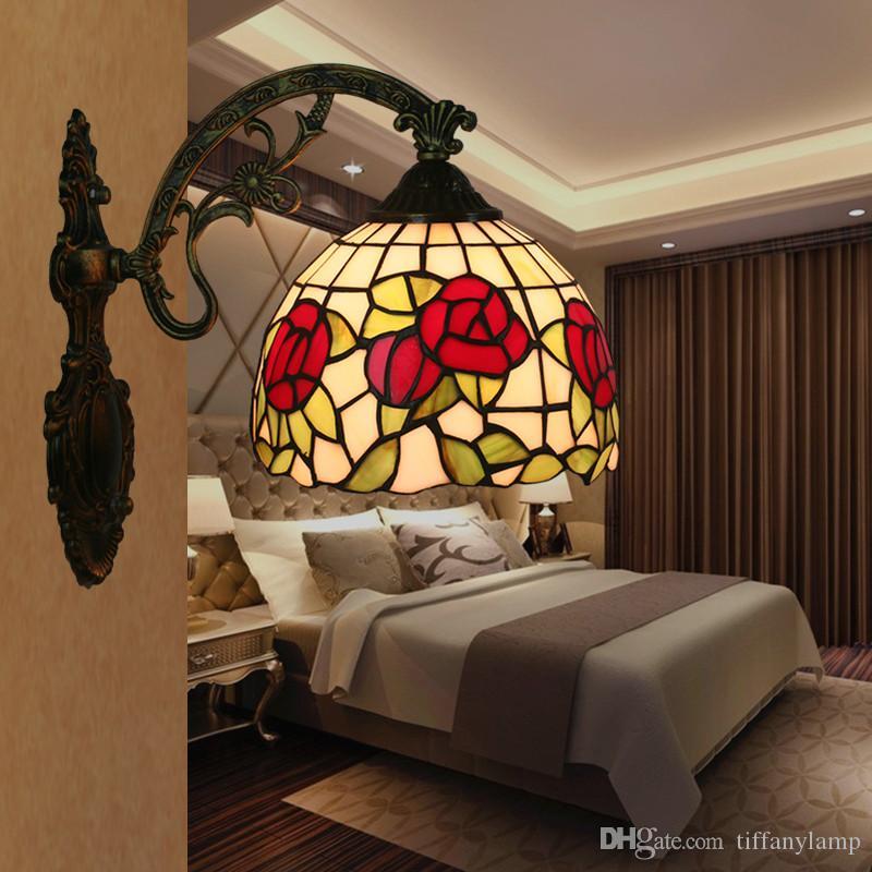 Luz Espelho Tiffany Wandlamp cabeceira quarto Luz American Vintage Sala Varanda Corredor Escadas Lamparas de pared