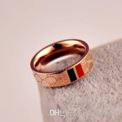 Розничная и оптовая торговля 18K розовое золото покрытием классический красно-зеленый узор письмо Титана стальное кольцо пары в 2019 году