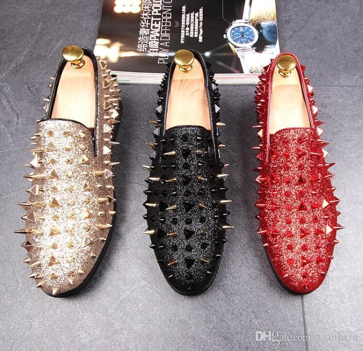 Classic Design nuovi uomini abito Rivetti sposo formale Scarpe Gentleman scarpe da sposa Reale Blu Scarpe Uomo Homecoming per l'uomo DA04